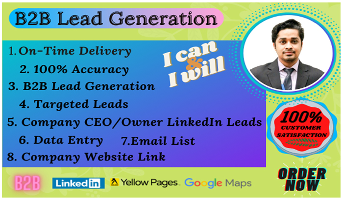 I will do any Lead Generation,  B2B Lead Generation,  Email List