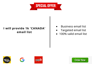 I will provide 1k 'CANADA' email list