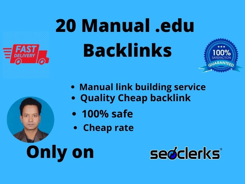 create 20 EDU high authority link building for SEO backlink.