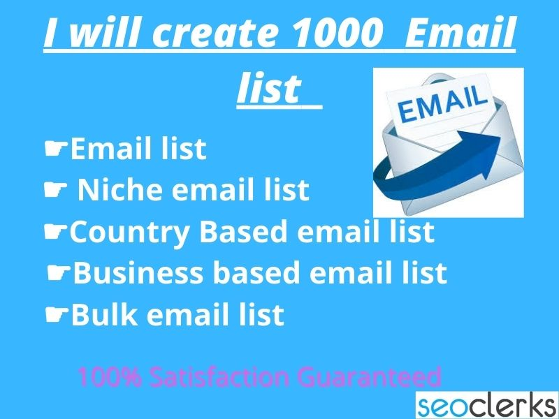 I will provide 1000 Verified and Active email list