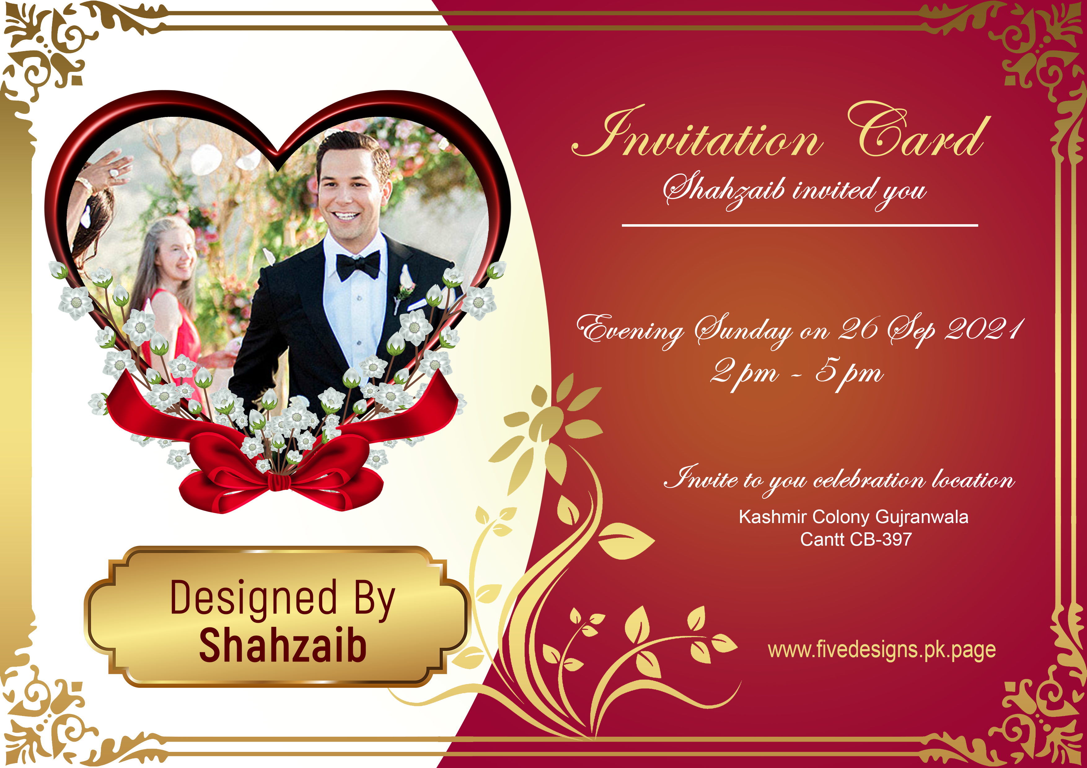 I will design a wedding or invitation card for any event