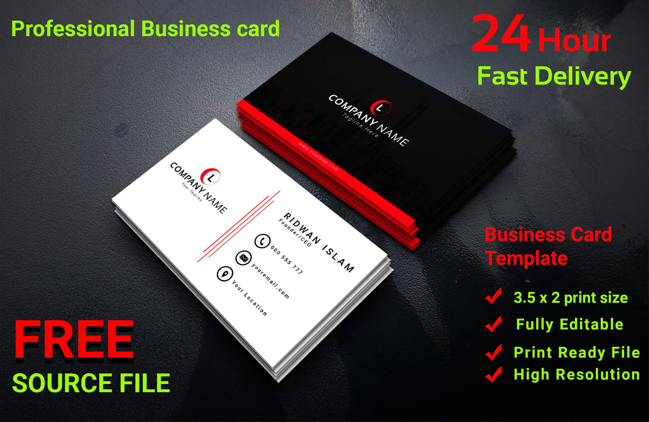 I will design unique professional Business card within 24 hours