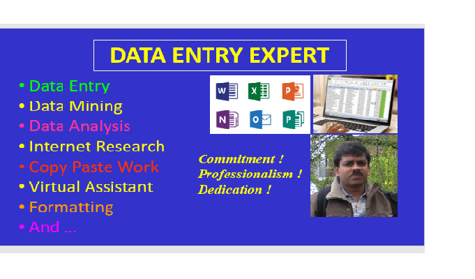 I will do any data entry online or offline,  web research