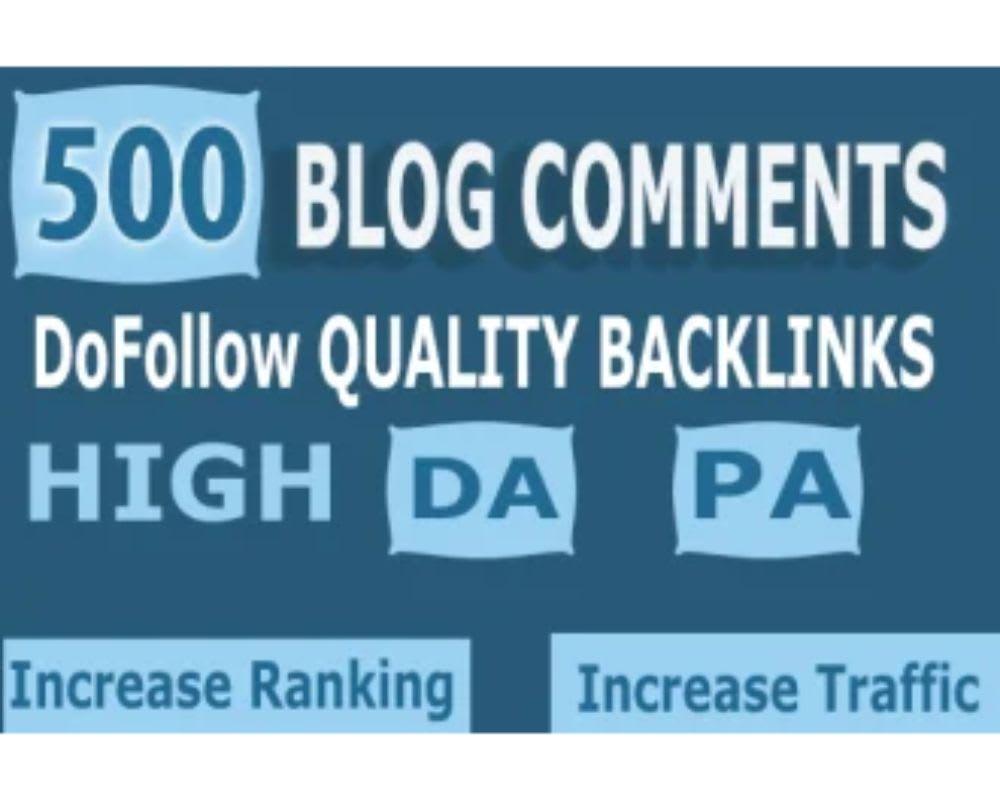 High Quality 500 Do-follow Backlinks High DA