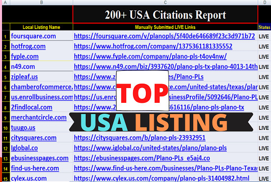 will list your business in 30 USA local seo citations,  directories