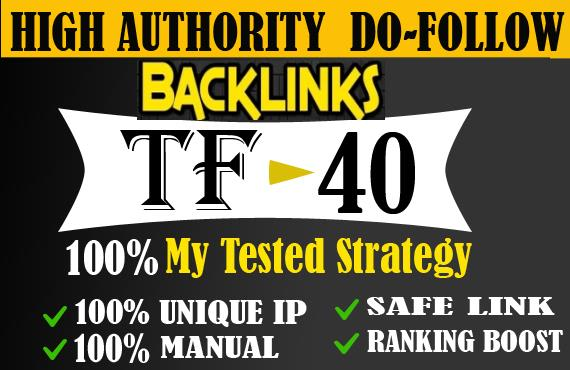 I will give 20 high tf cf permanent dofollow backlinks for SEO