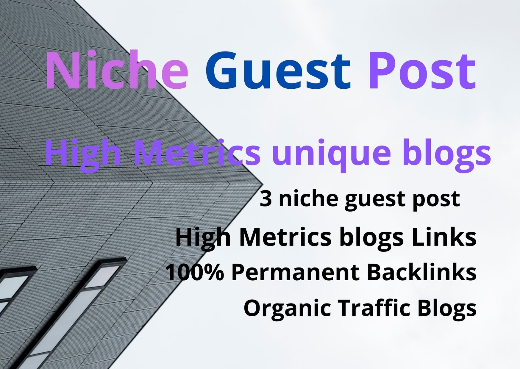 I will publish 3 niche guest post 60 to 80 high quality backlinks