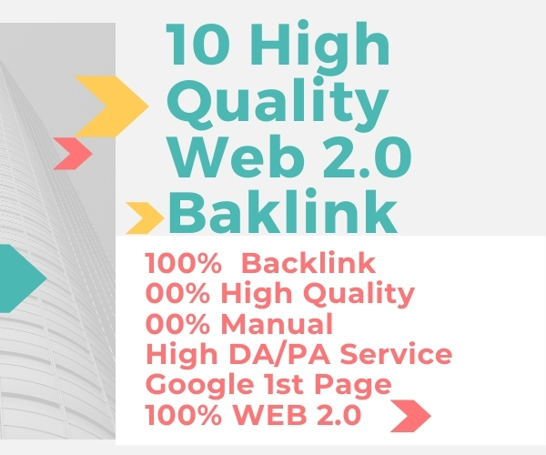 10 High Domain Authority Web 2.0 Backlink