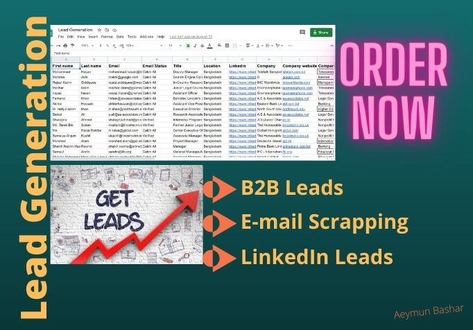 I will do targeted B2B Lead generation,  Web Research and E-mail Listing