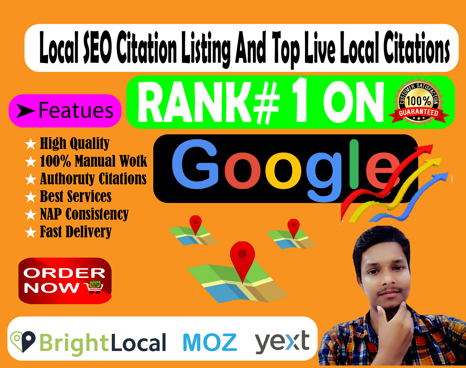 I will do local SEO citation I'll do it right now for google rank with yext,  moz.