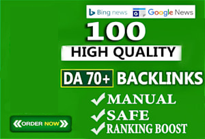 I will build 100 unique domain SEO backlinks DA70 to 100 tf ranking your web sites