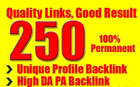 do 250 HIgh DA PA unique profile high pr seo backlinks