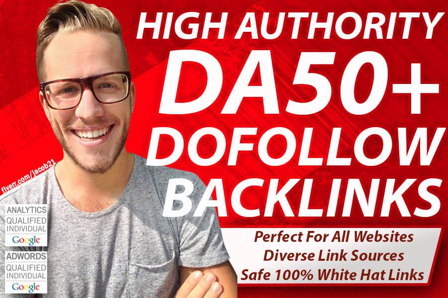 Fabricate high quality dofollow SEO backlinks da 50 plus authority white hat link building