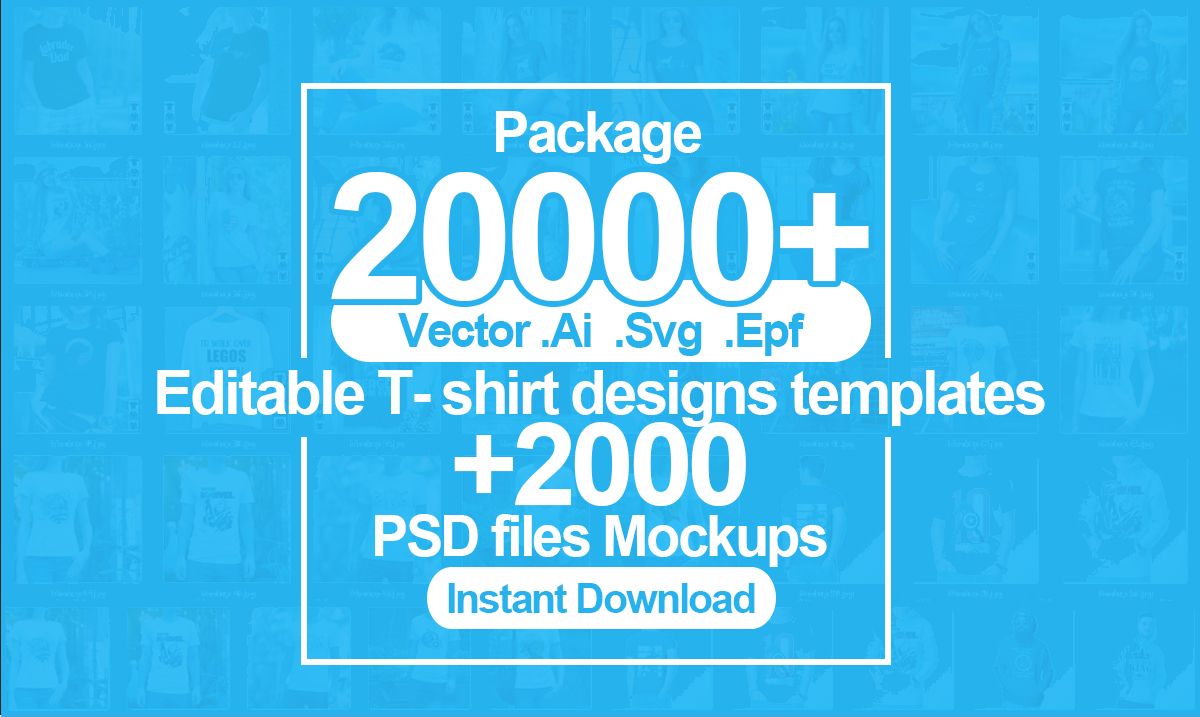 Deliver 20000 tshirts design vector template and mockups
