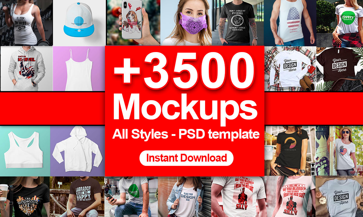 Deliver 3500 Different Styles T-shirt Mockups PSD Download