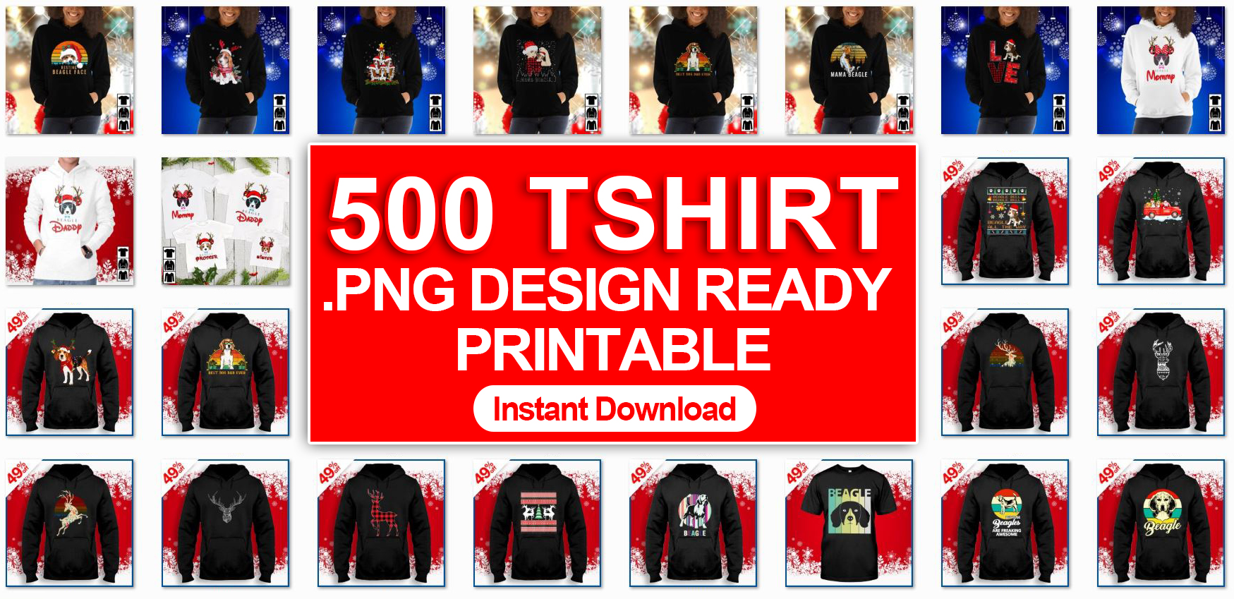 500 PNG files Christmas T shirt Design Ready To Printable