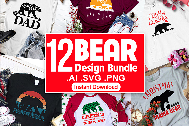 Bear SVG Christmas T shirt Design Vector Bundle