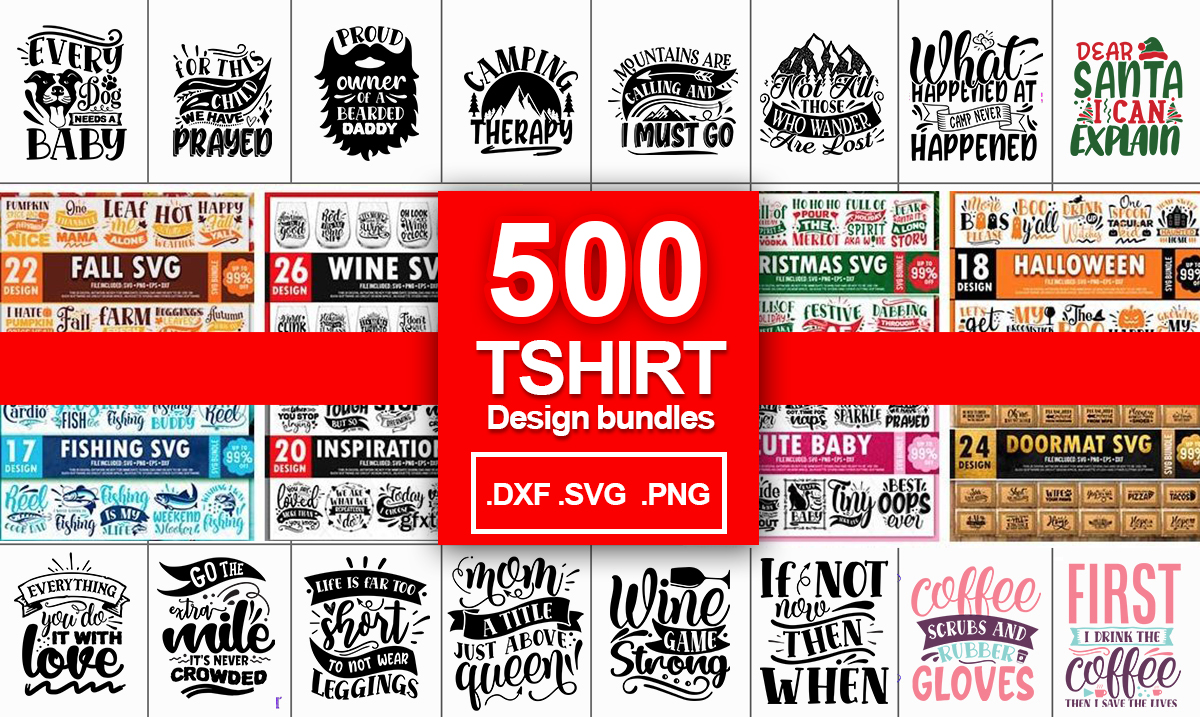 Deliver 500 Tshirt Design SVG Bundles Download