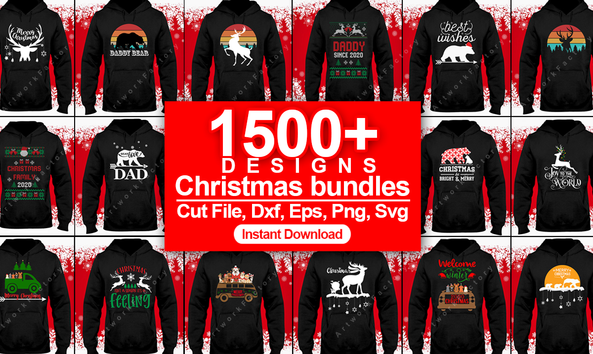 Deliver 1500 Christmas design SVG,  Christmas T-shirt design bundles