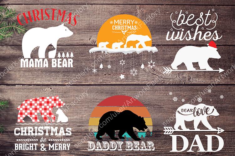 Bear SVG Christmas T shirt Design Vector Bundle