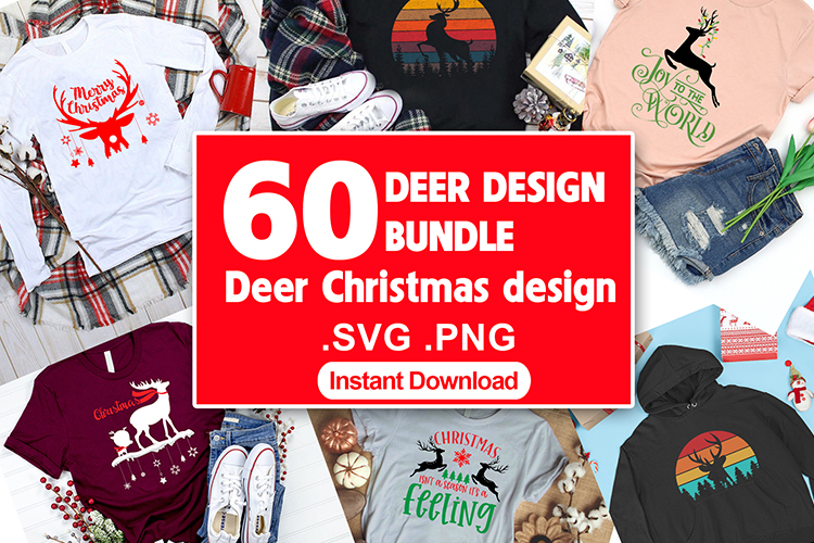 60 Deer Christmas T shirt Design by Vector Bundle