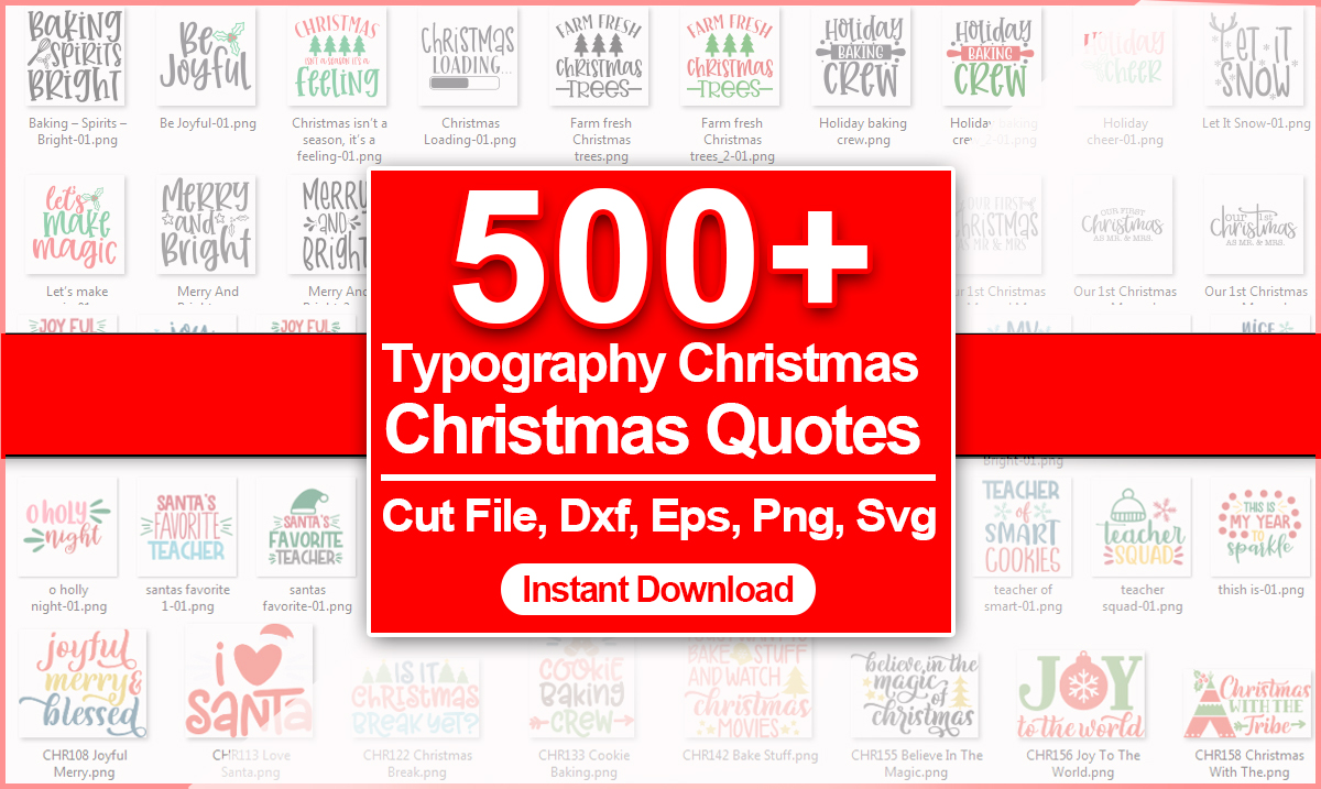500 Typography Christmas Design SVG Bundle