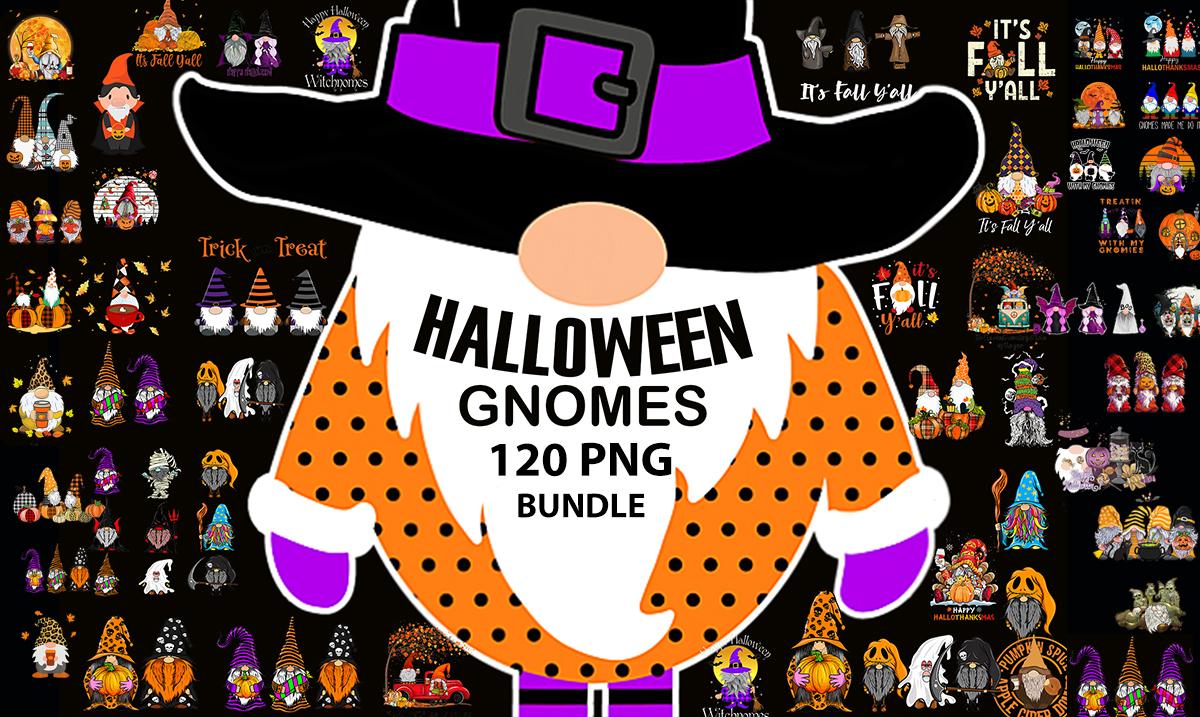 Send 120 Tshirt Design PNG Halloween Gnomes bundle,  Pumpkin Gnome,  Black Magic Gnomes for POD
