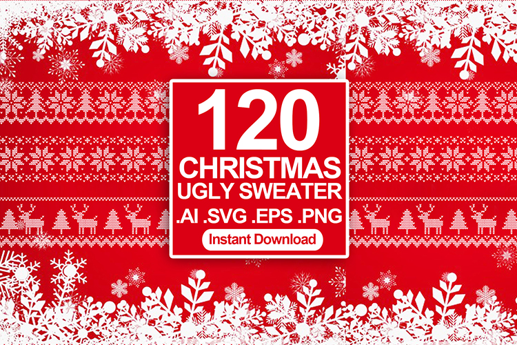 120 Ugly Sweater Christmas T-shirt Design SVG Bundles