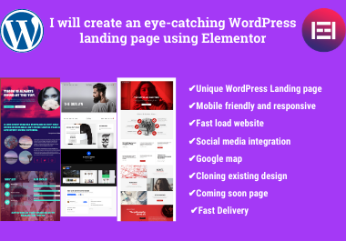 I will create an eye-catching Wordpress landing page using Elementor