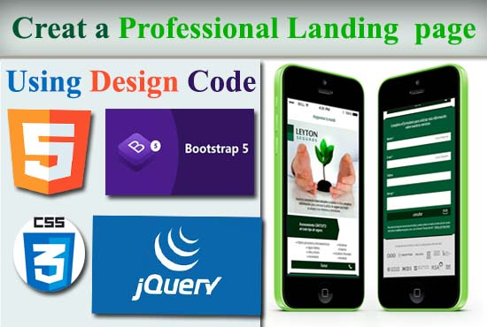 Create a professional landing pge