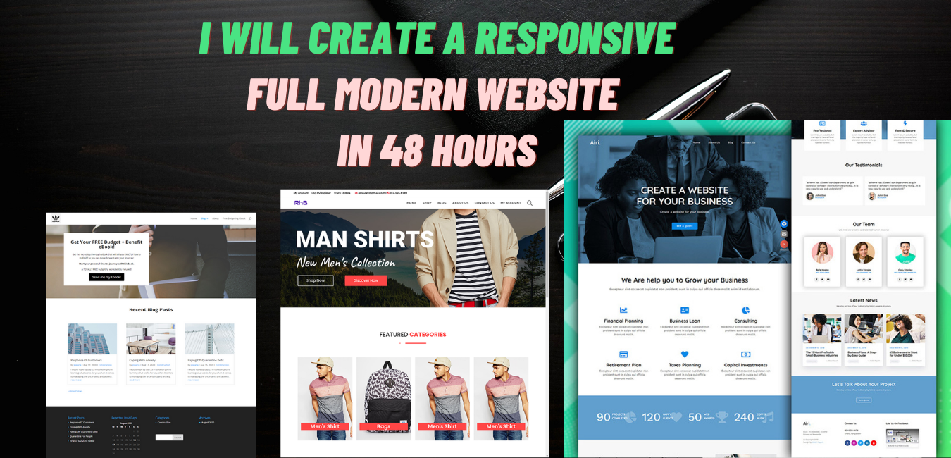 create a responsive full modern website