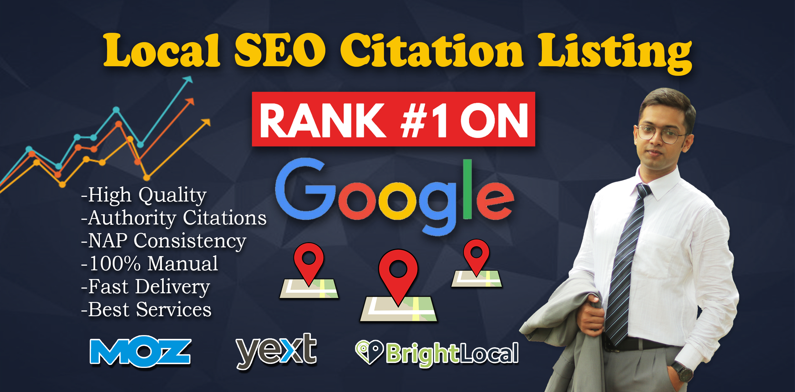 I will do 5 Local SEO citation listing with MOZ and YEXT for Google Rank