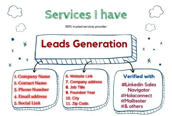 I Will Provide 100 Verified email and contract for you