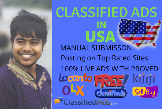 I will do post your ads in top USA classified ads site