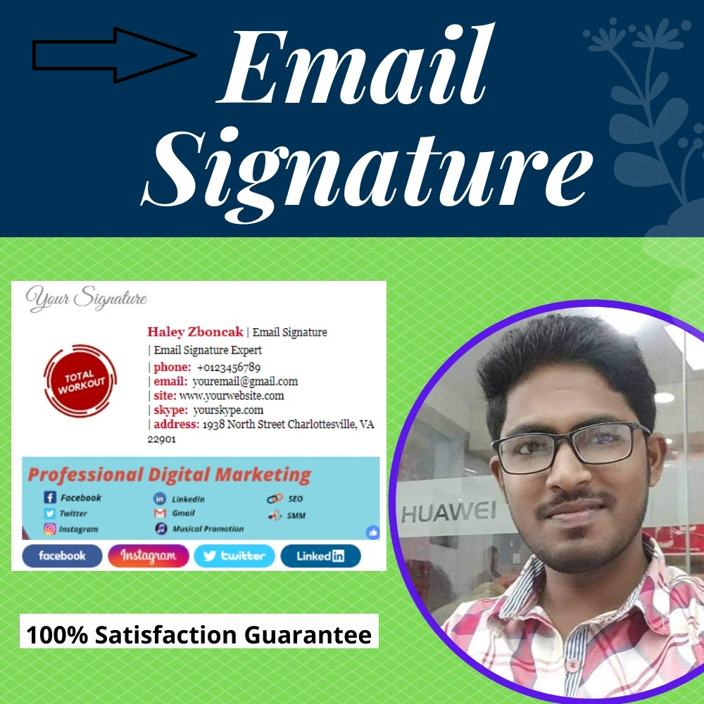 I will do a perfect email signature for your Gmail,  outlook,  yahoo,  and apple