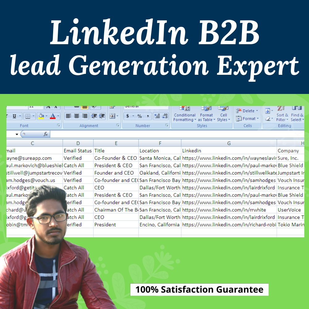 I will provide targeted b2b LinkedIn lead generation email list building