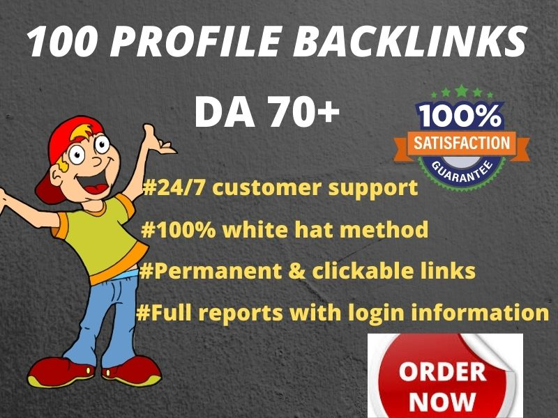 I Will do 100 Manually Profile Backlink on 70+ DA/PA Sites for Ranking Top Page