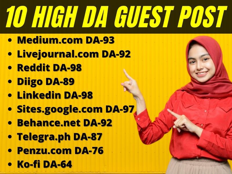 I will Write and Publish 10 High quality Guest Post on High DA website