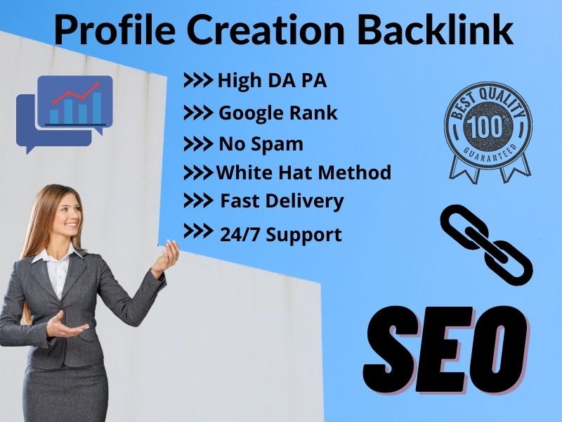 I will create 50 High DA PA Social Profile Creation Backlinks for SEO Google Rank