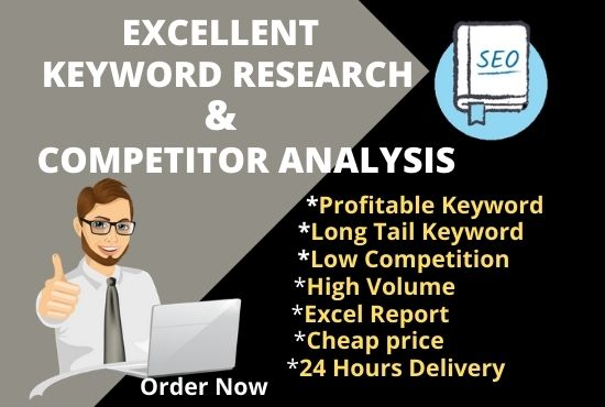 excellent keyword research and competitor analysis