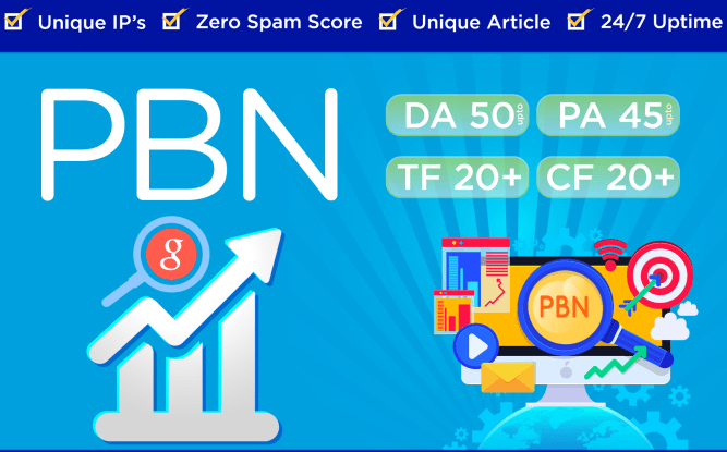 i will provide 20 PBN DA 50+ homepage high matrics backlinks