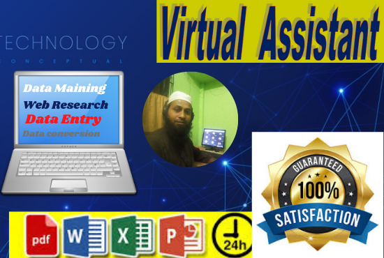 I will be virtual assistant for data entry and data mining