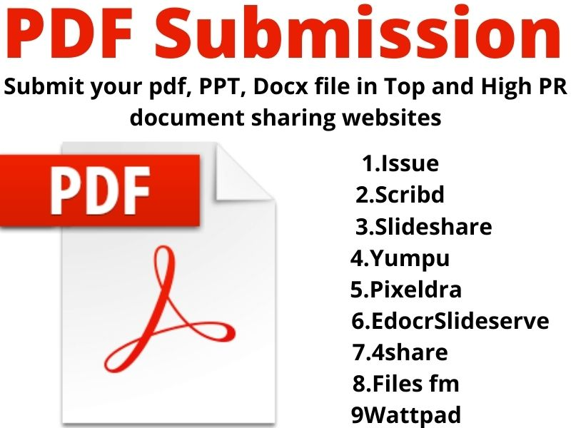 I will do Manually PDF submission to 10 high authority document sharing sites
