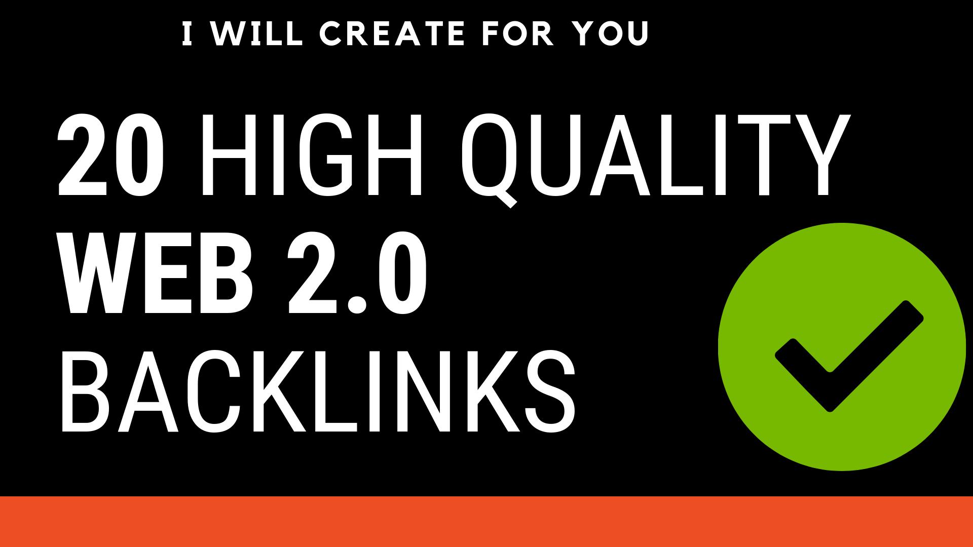 Create Manually web 2.0 Backlinks + 20 Bookmarking On high PR website