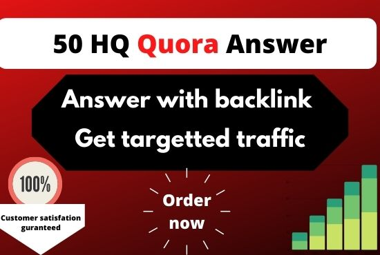 I will provide 50 HQ Quora Answer with Backlink