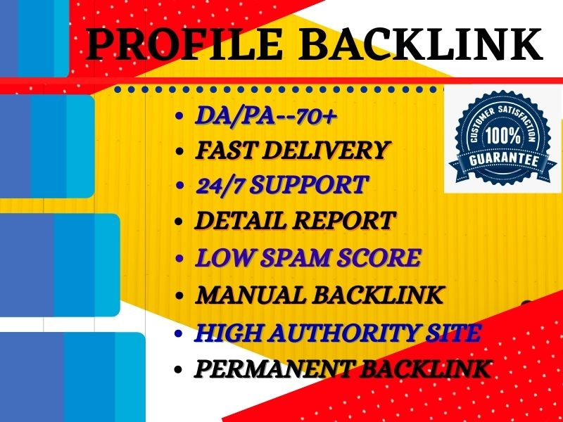 I Will Provide 100 High DA PA Authority Profile Backlinks for Boost SEO Ranking.