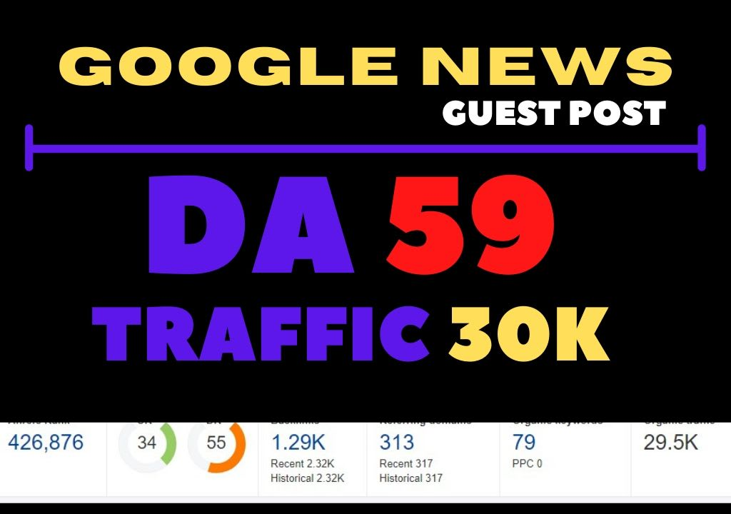I will guest post on my da 59 google news approved site 30k traffic