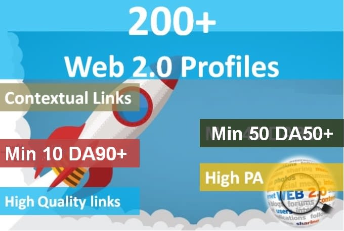 Create 200 high authority web 2.0 profile backlinks with high da links
