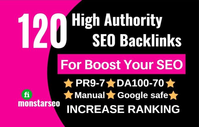 Do 120 white hat SEO high authority backlinks service.