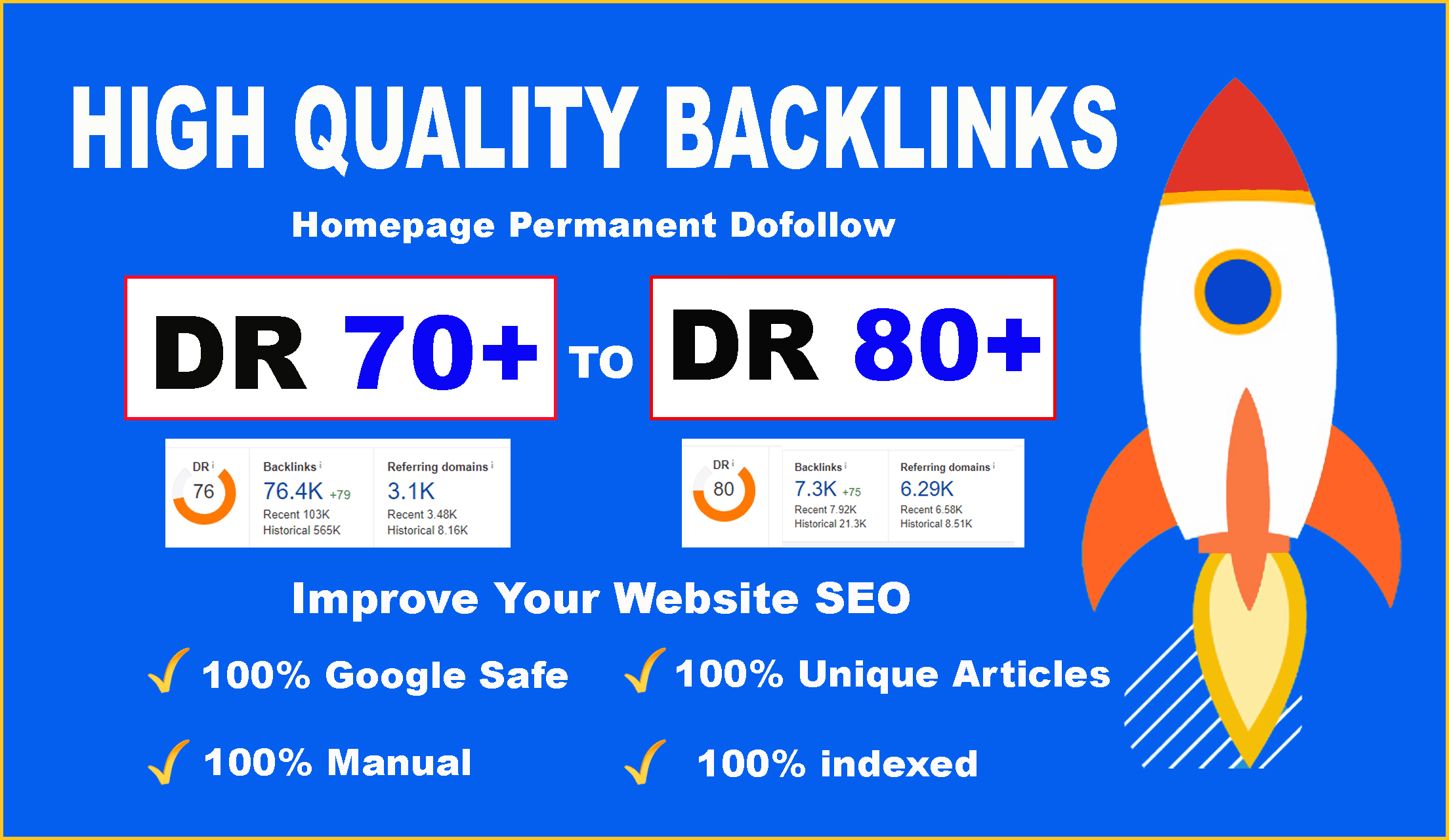 do high quality DR 70 to 80 manual seo dofollow authority backlinks